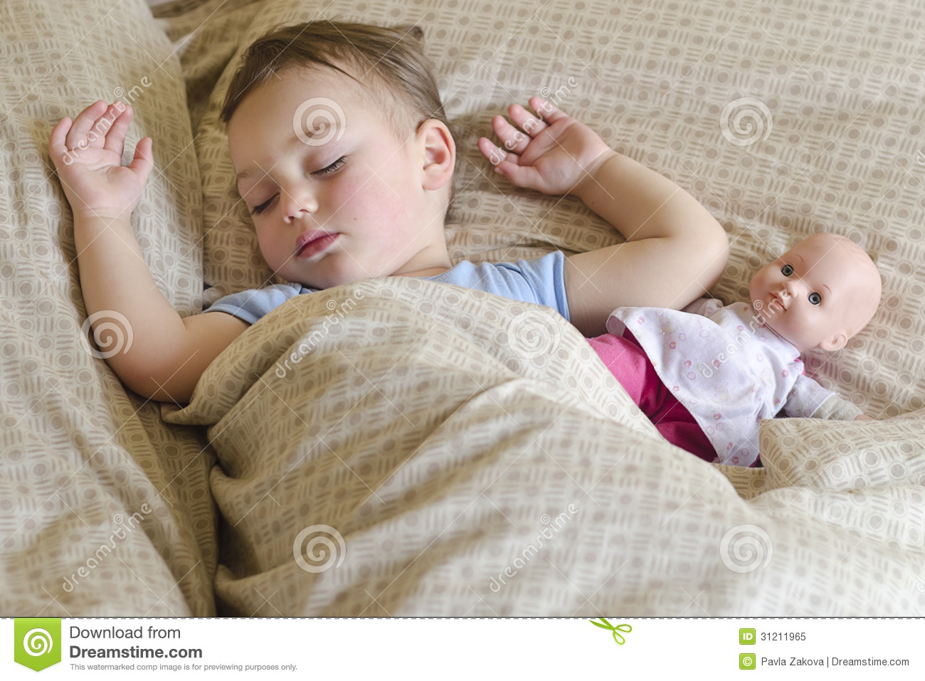 Child Sleeping With Doll Stock Image Image Of Home Girl