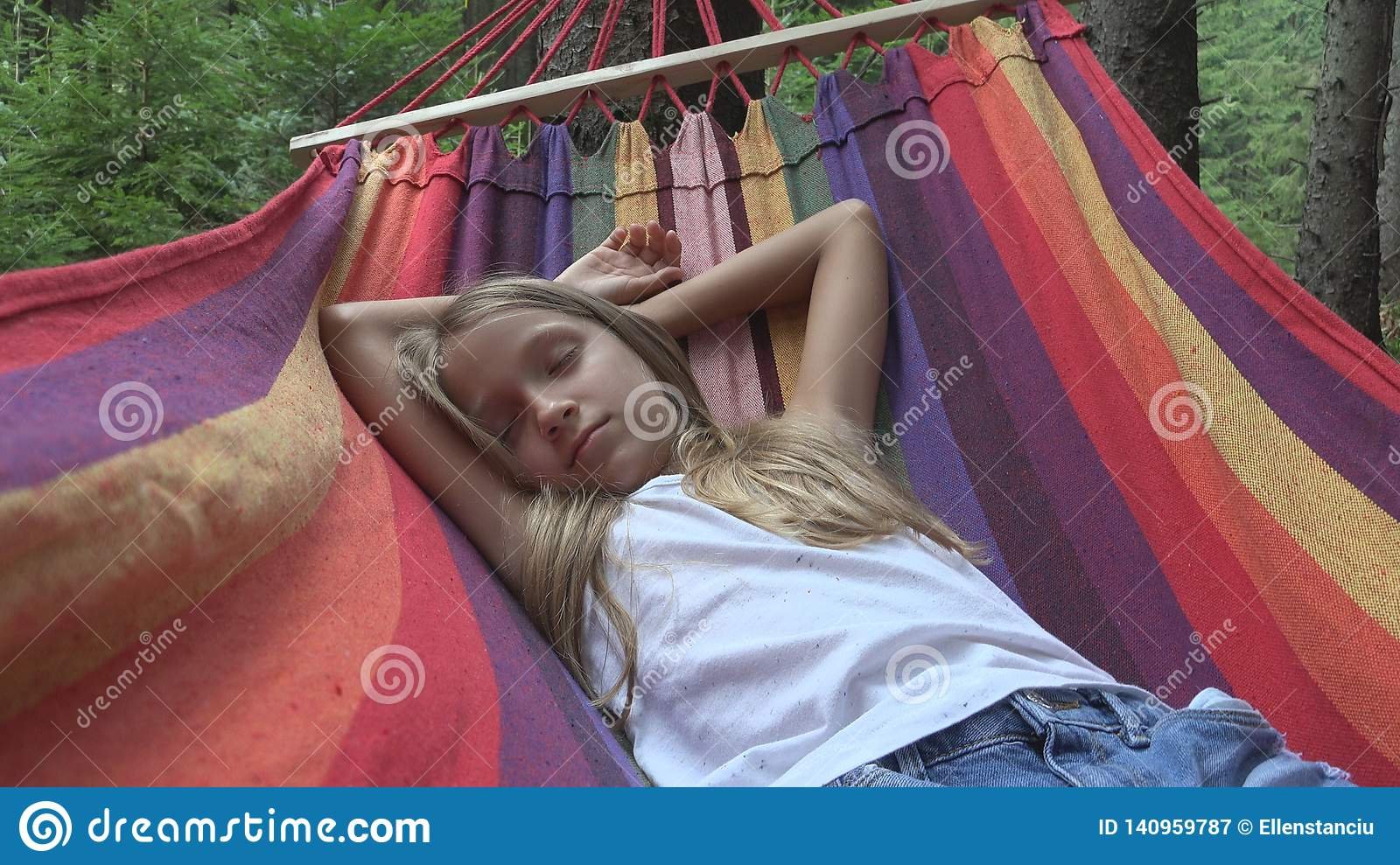 Child Sleeping in Hammock in Camping, Kid Relaxing in Forest, Girl in Mountains