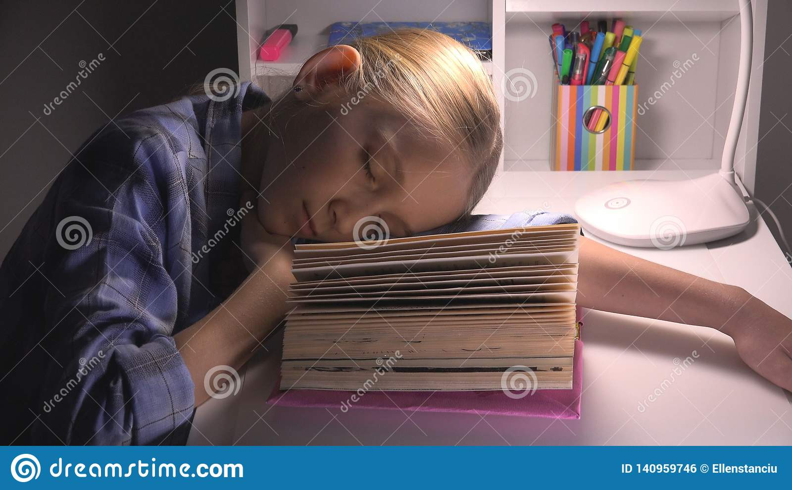 Child Sleeping, Tired Eyes Girl Portrait Studying, Reading, Kid Learning Library