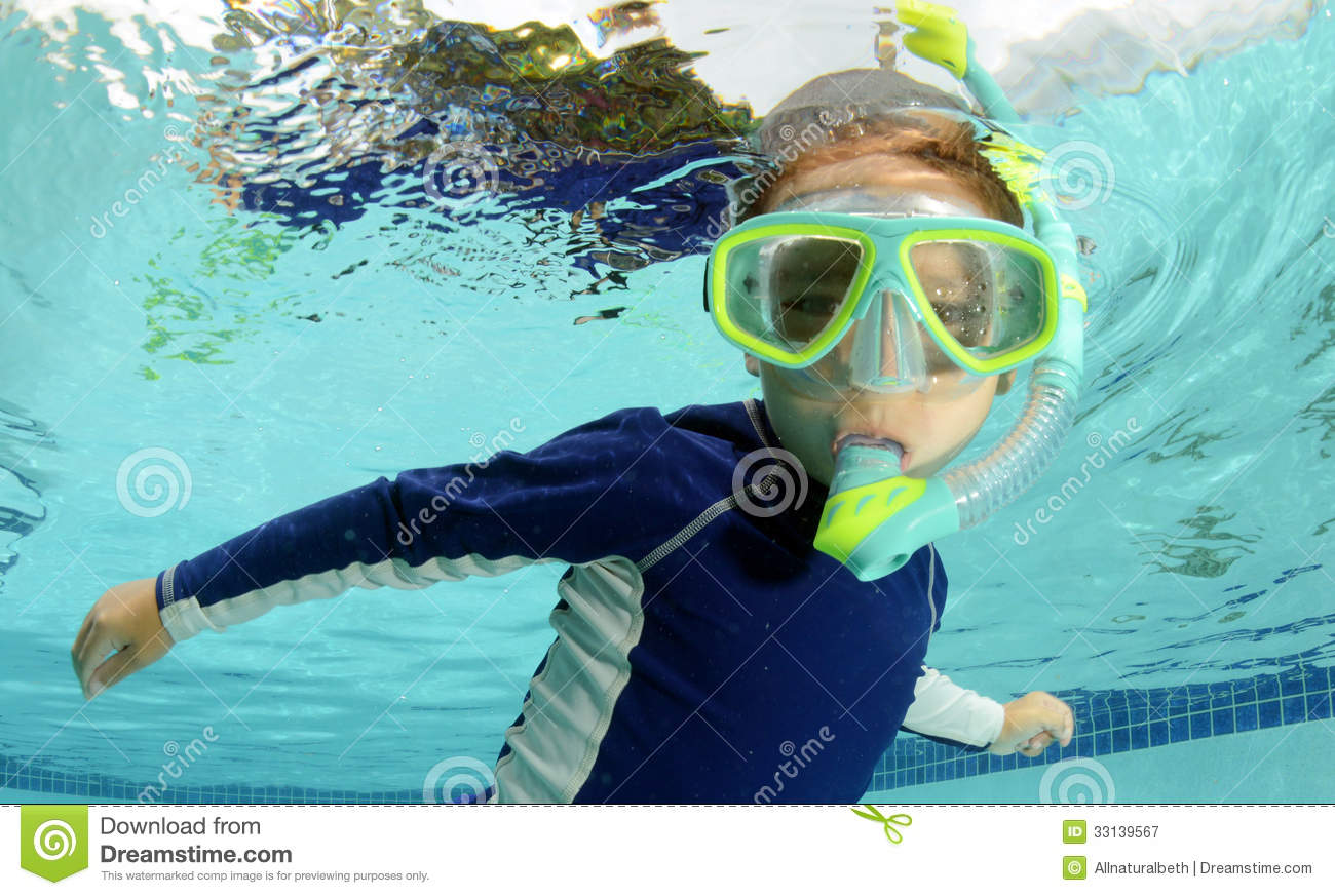 child snorkeling and swimming in pool stock image image 33139567