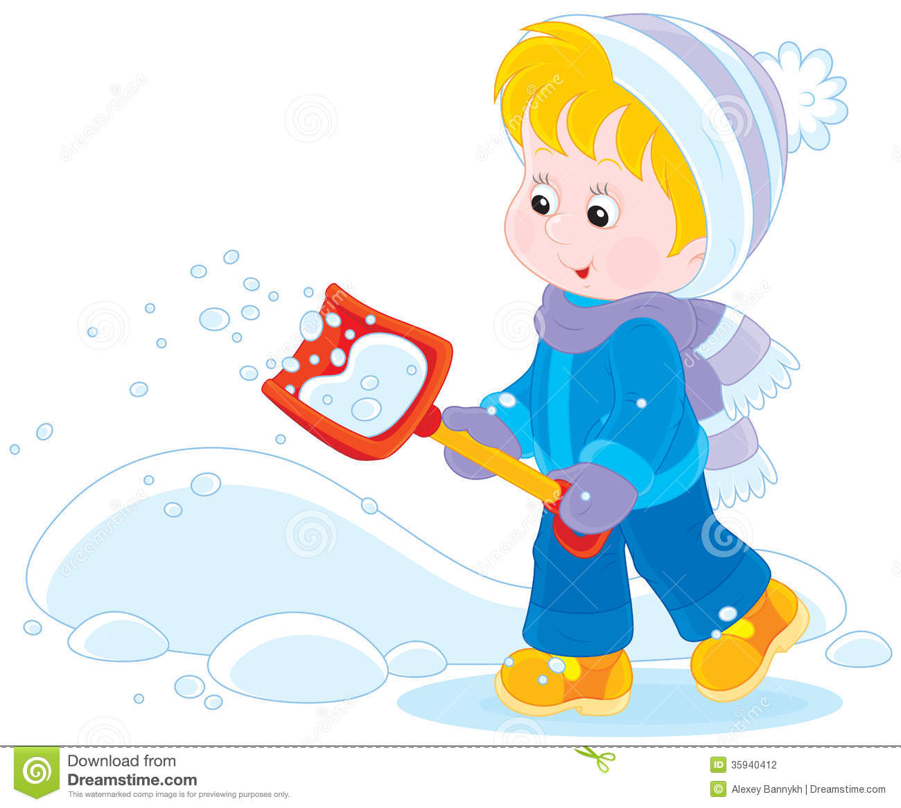 Child With A Snow Shovel Stock Photography - Image: 35940412
