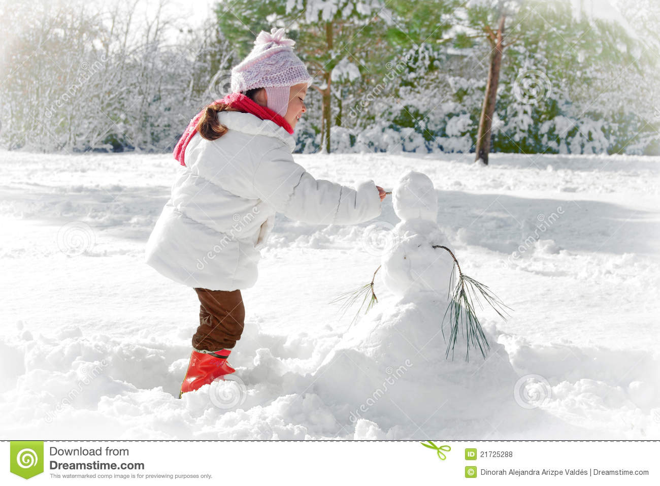 Child and snowman