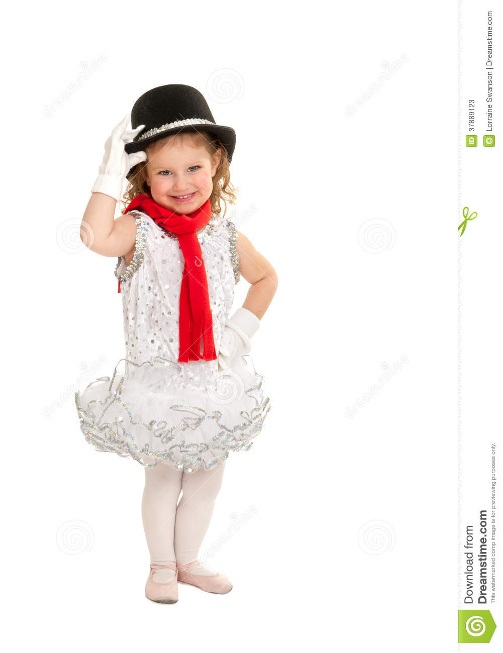 Child In Snowman Christmas Dance Costume Stock Image Image