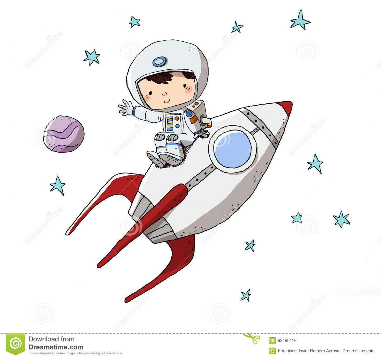 Child In Space Suit Going Into Space Stock Illustration ...