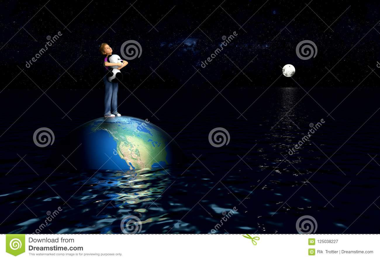 Child standing on earth in ocean