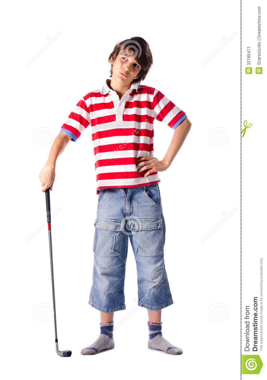 Child Standing With Golf Club Stock Image - Image: 32185471