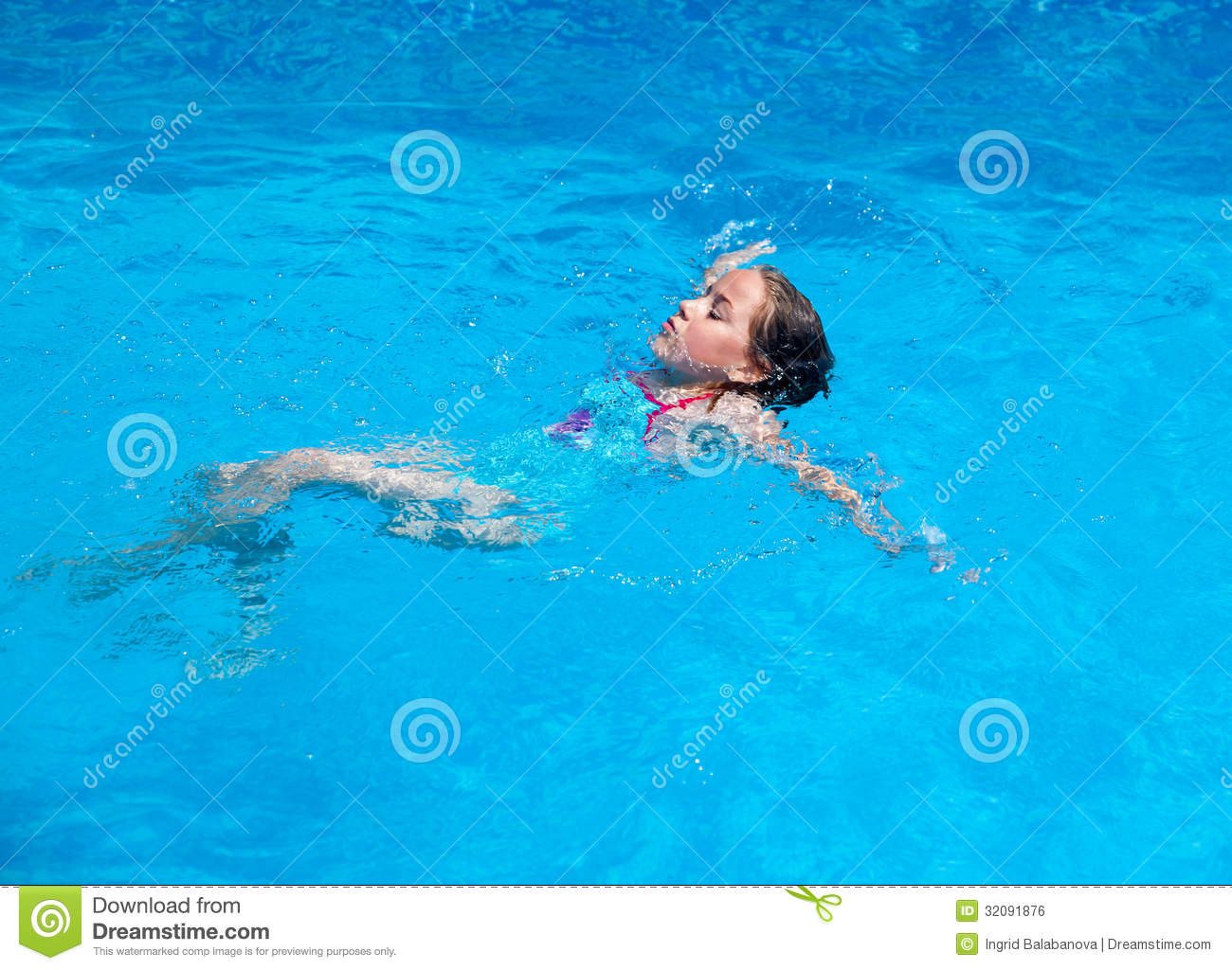 Child Swimming Backstroke Stock Photo Image Of Aquatic 32091876