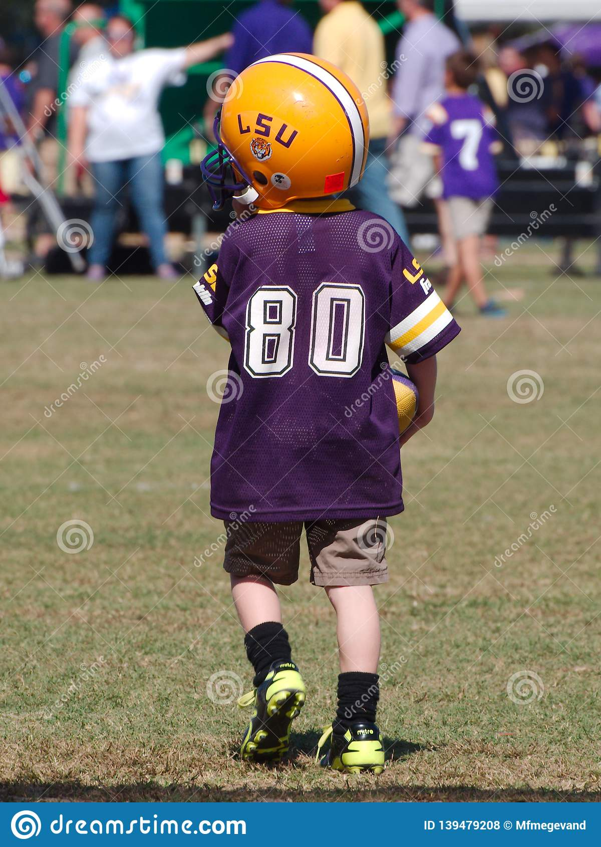 Child tailgating during an LSU football game