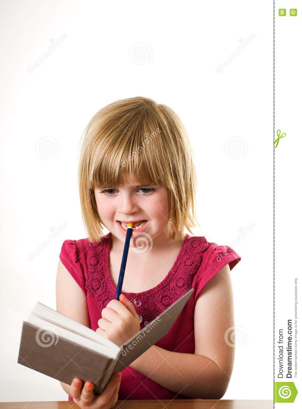 Child Thinking Child thinking about her diary