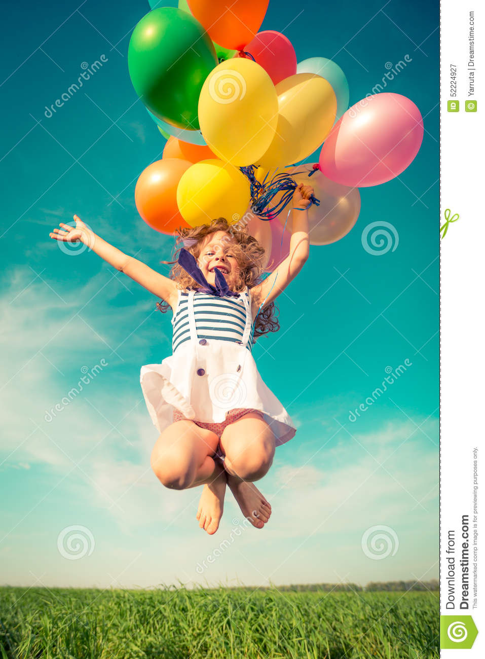 Child With Toy Balloons In Spring Field Stock Photo ...