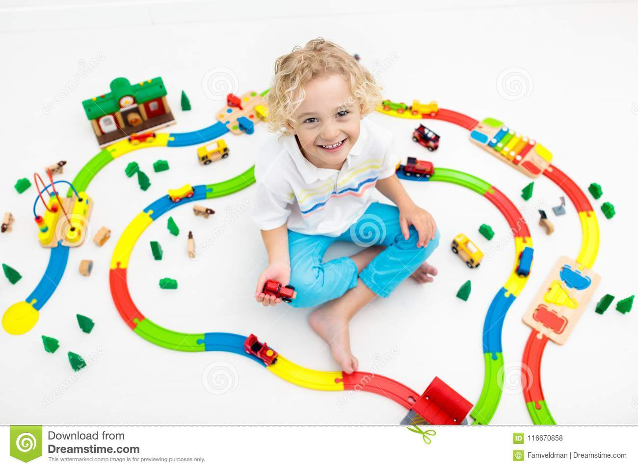 Child With Toy Train Kids Wooden Railway Stock Photo Image Of
