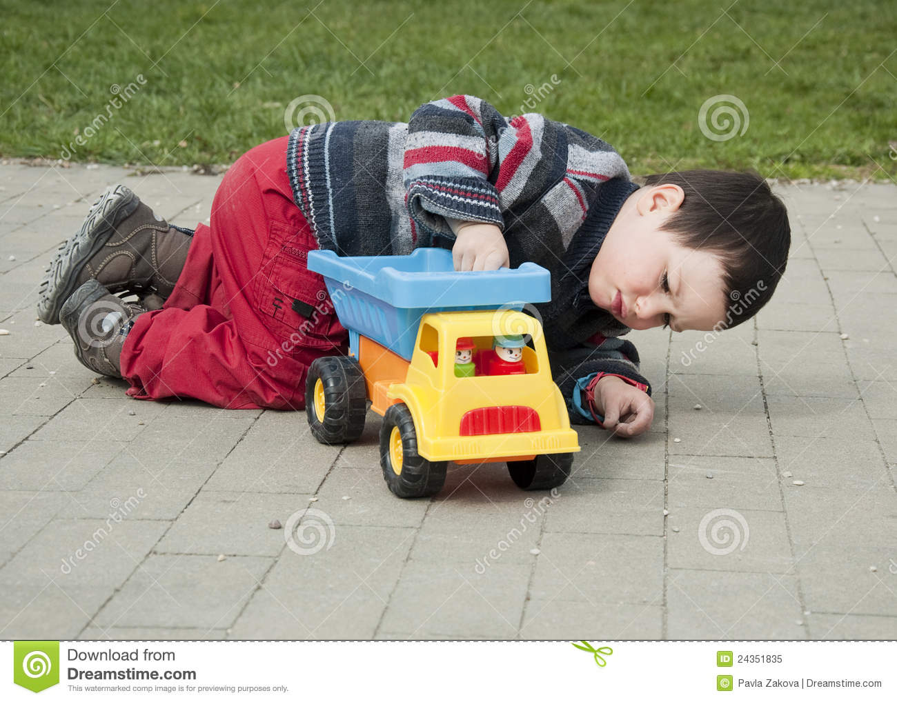 Child With Toy Truck Stock Image Image Of Young Caucasian 24351835