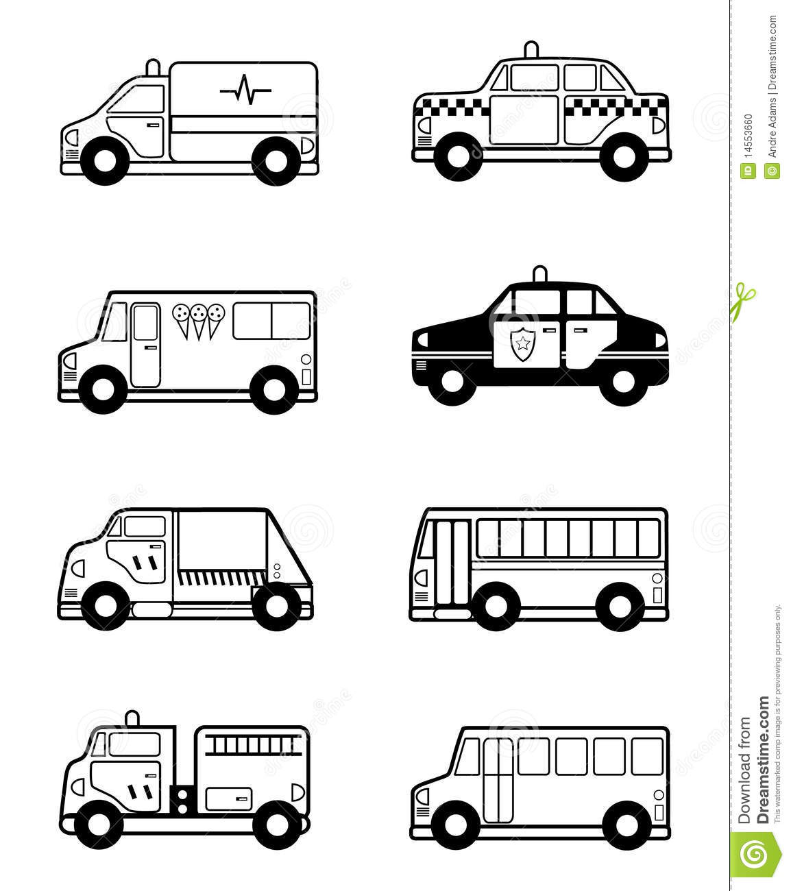 child toy vehicles outline stock photo
