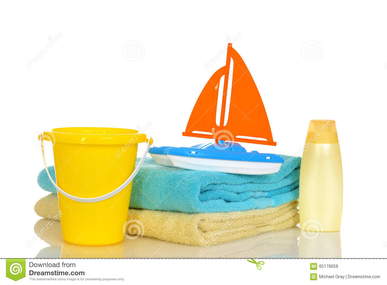 Download Child Toys And Towels Ready For Beach Stock Photo - Image of lotion, sail: 65178058