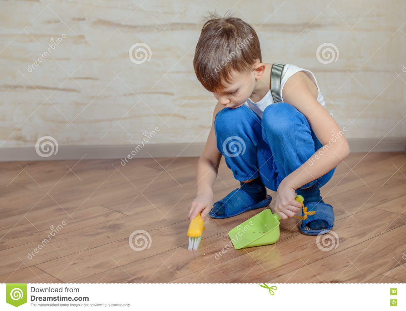 Child Using Toy Broom And Dustpan Stock Photo Image Of
