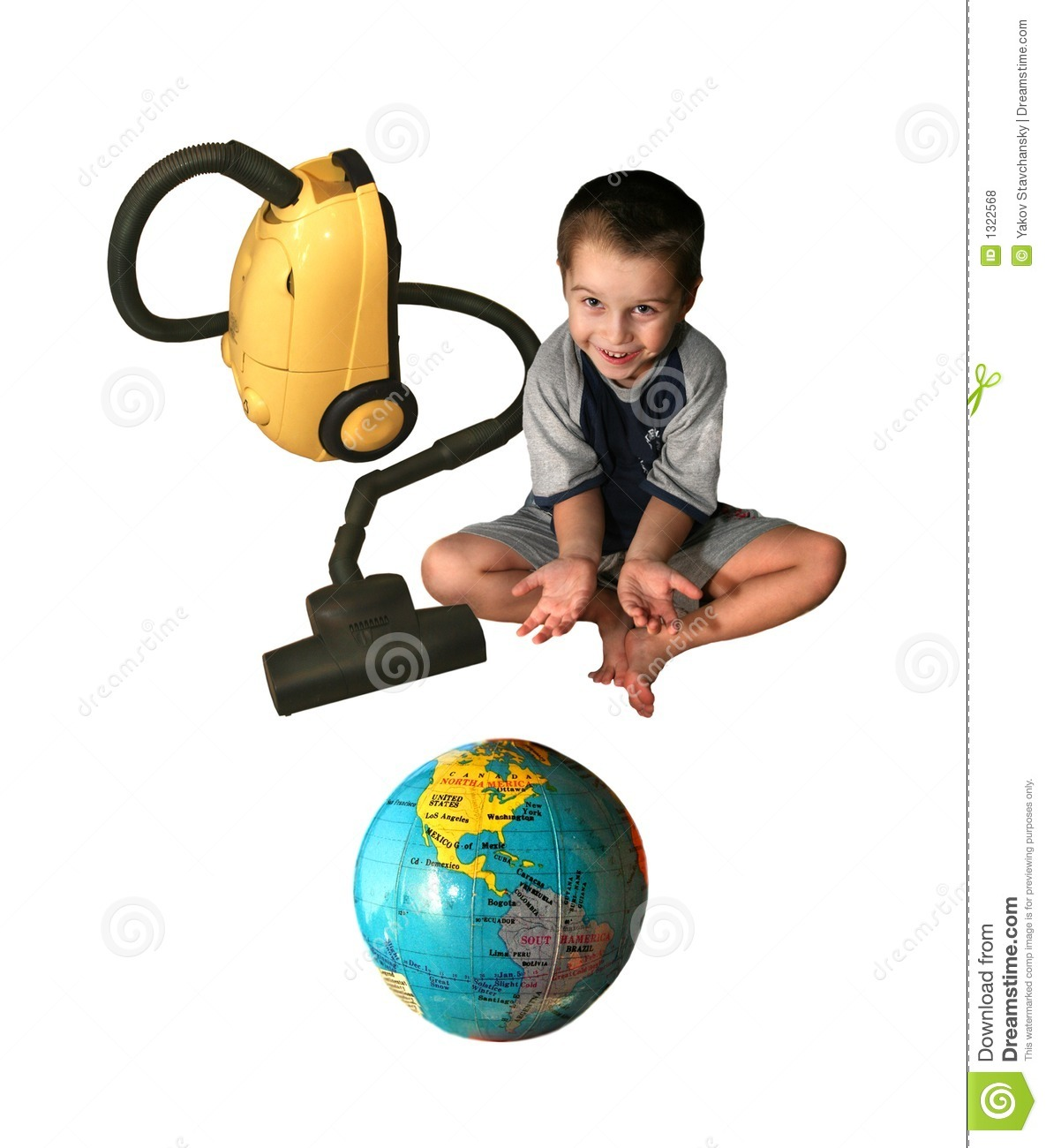 The child with a vacuum cleaner.