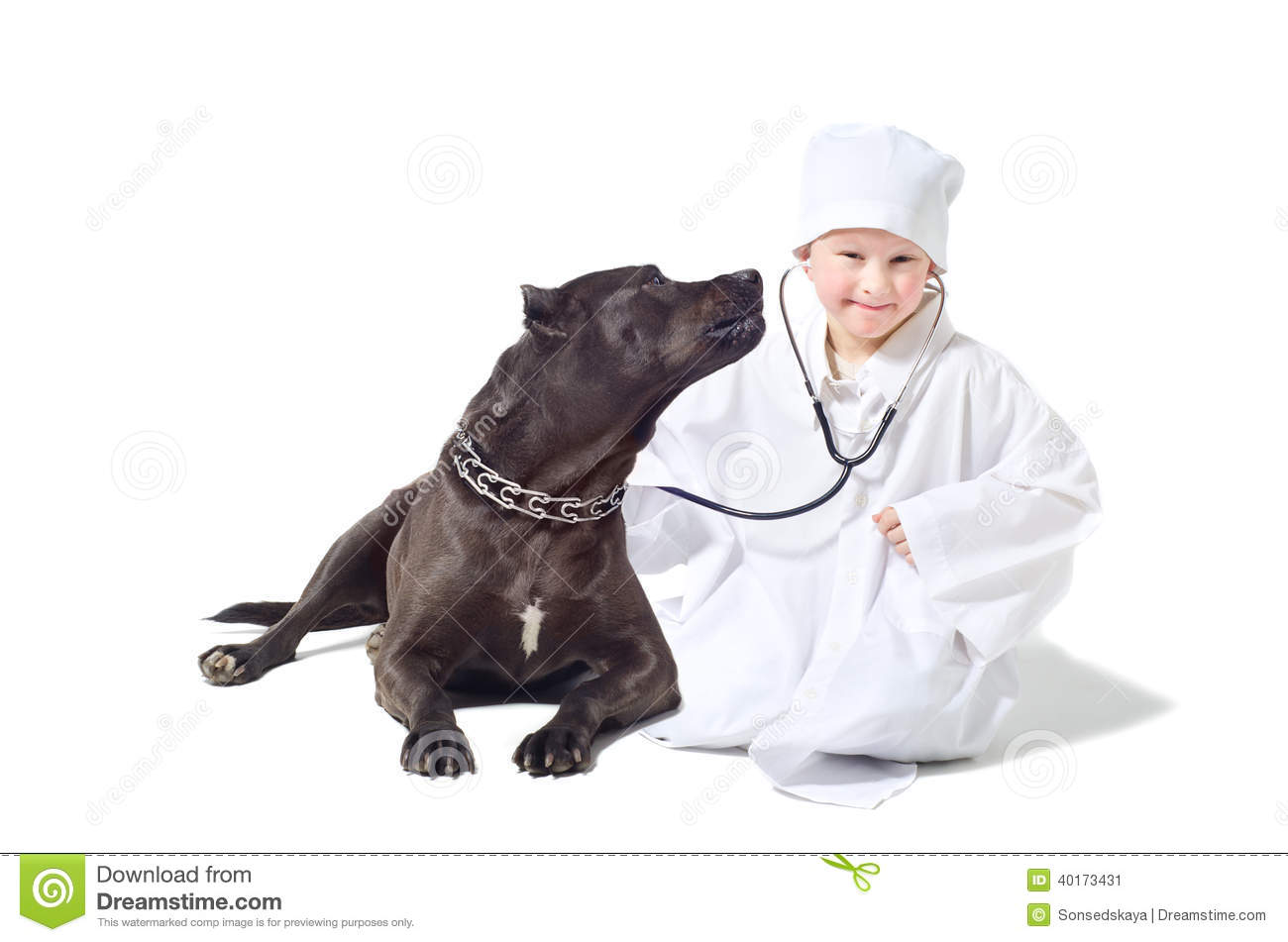 veterinar kid Child vet listens to dog