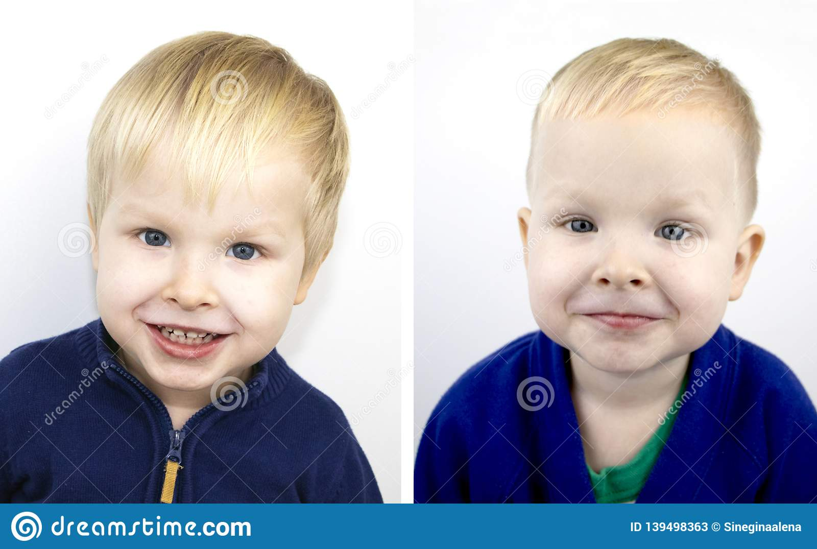 Portrait of a boy before and after the haircut. Child after visiting the hairdresser
