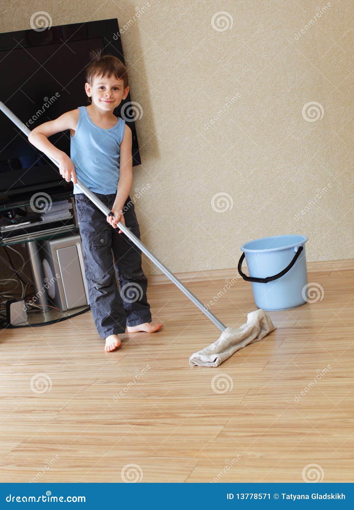 Child Washing Floor Stock Image Image Of Adolescence