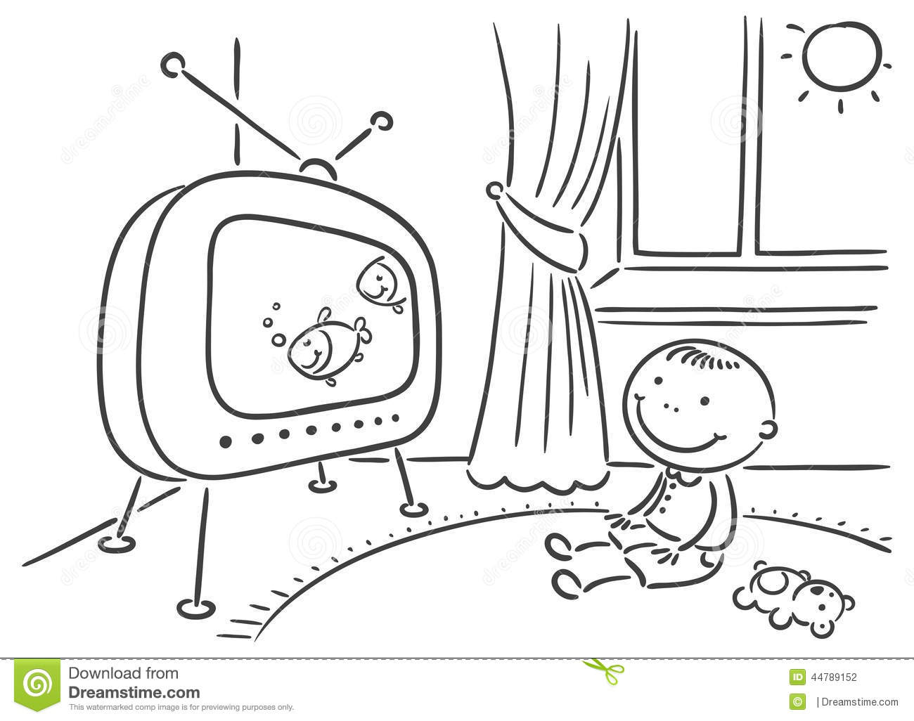 Child Watching Tv In His Room Stock Vector Illustration Of Watch