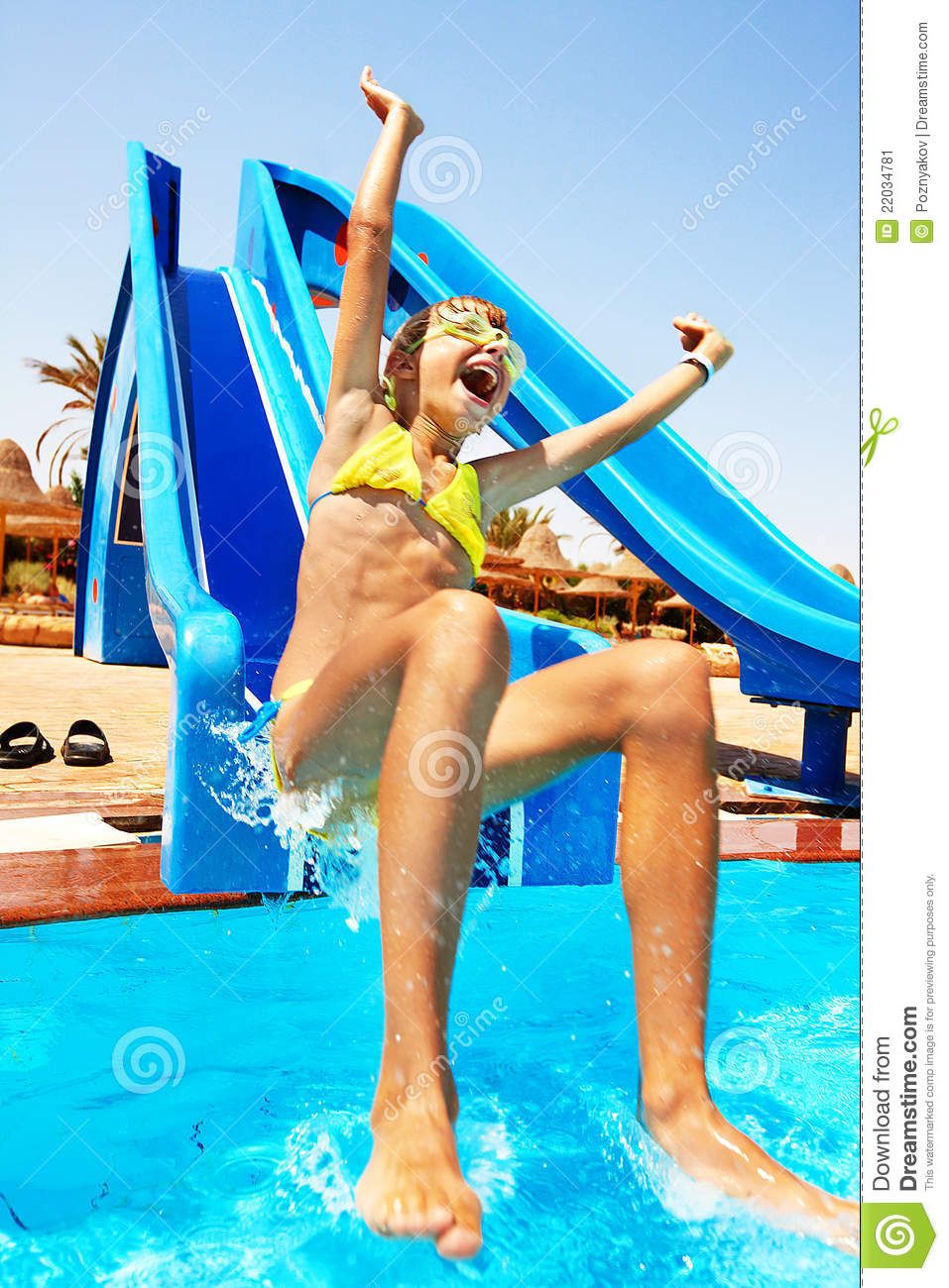 Water slide bikini malfunctions