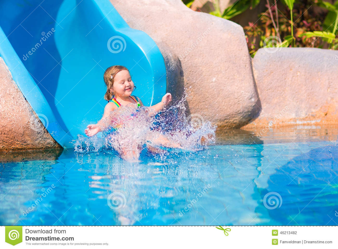 Child On Water Slide Stock Photo Image Of Pool People 46213482