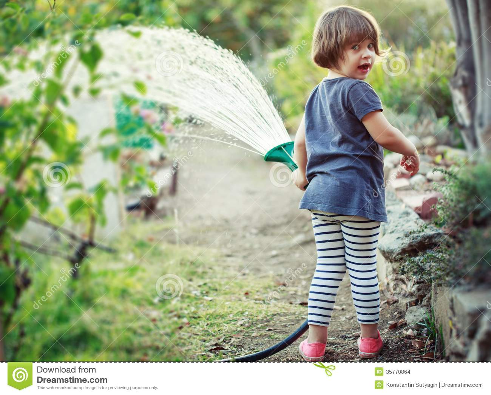 Child Garden Girl Happy Little Watering ...