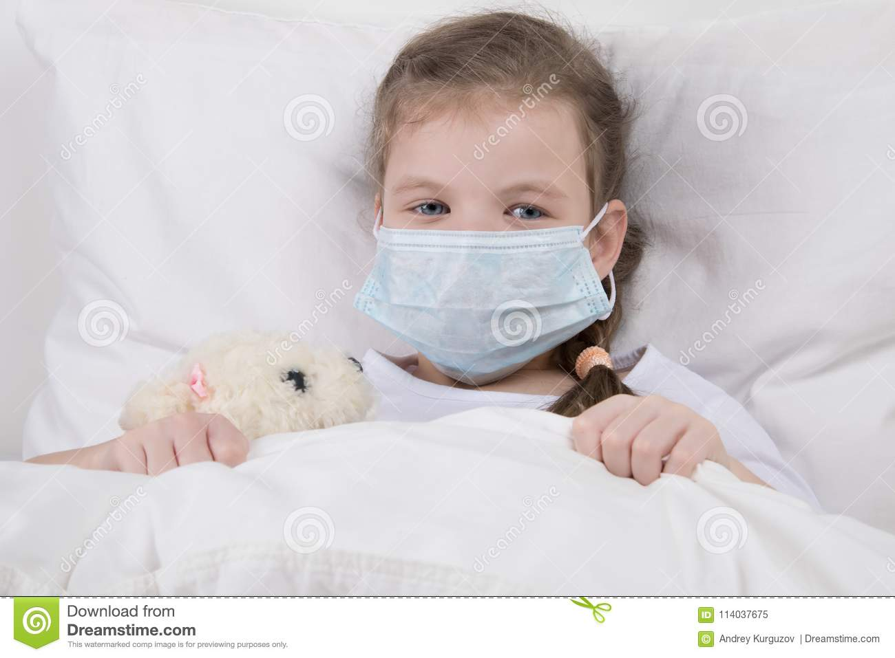 His Is Against Face Bed White Medical Mask In Wearing A On Child