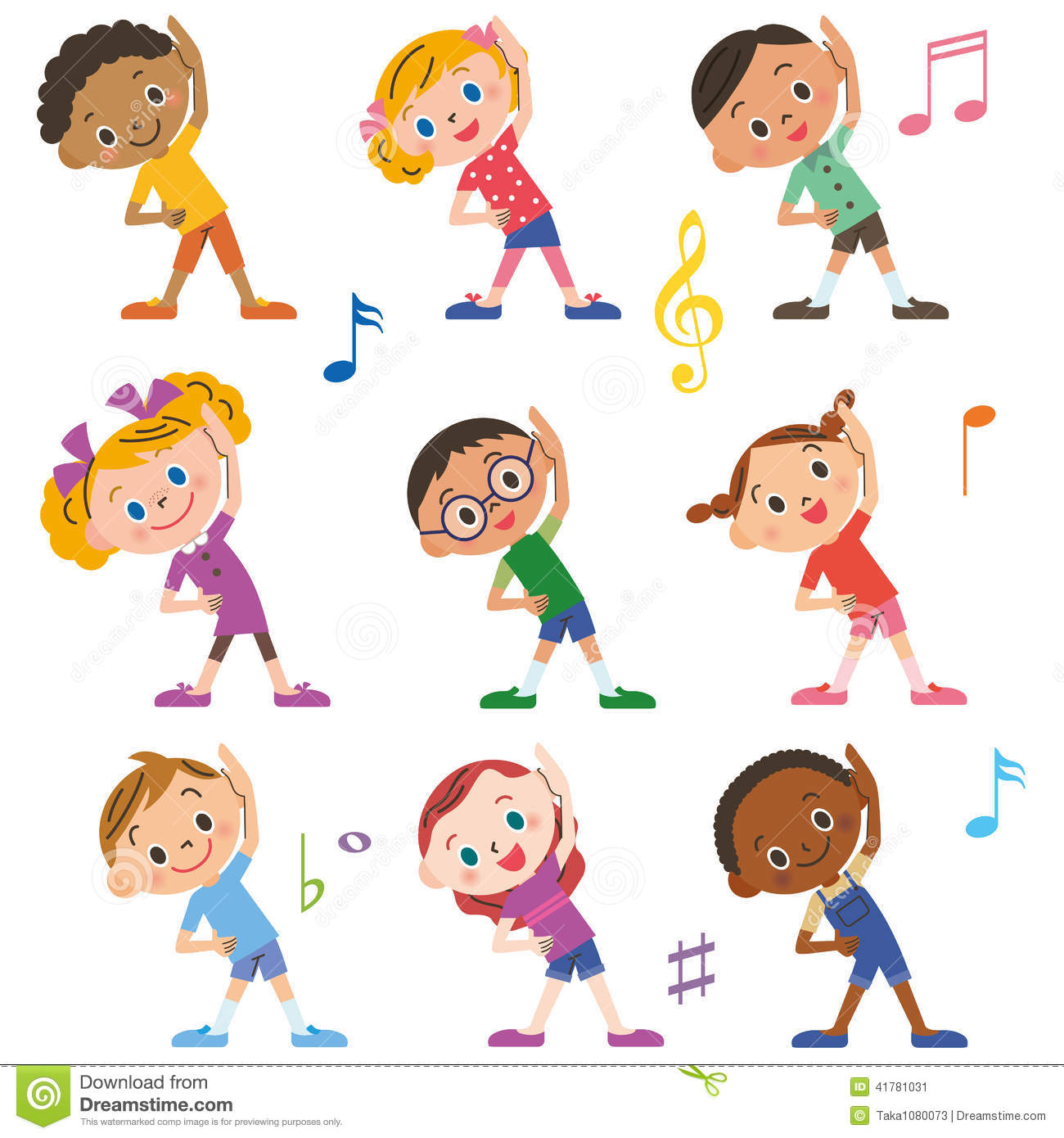 The Child Who Does Radio Exercises Stock Vector - Image ...