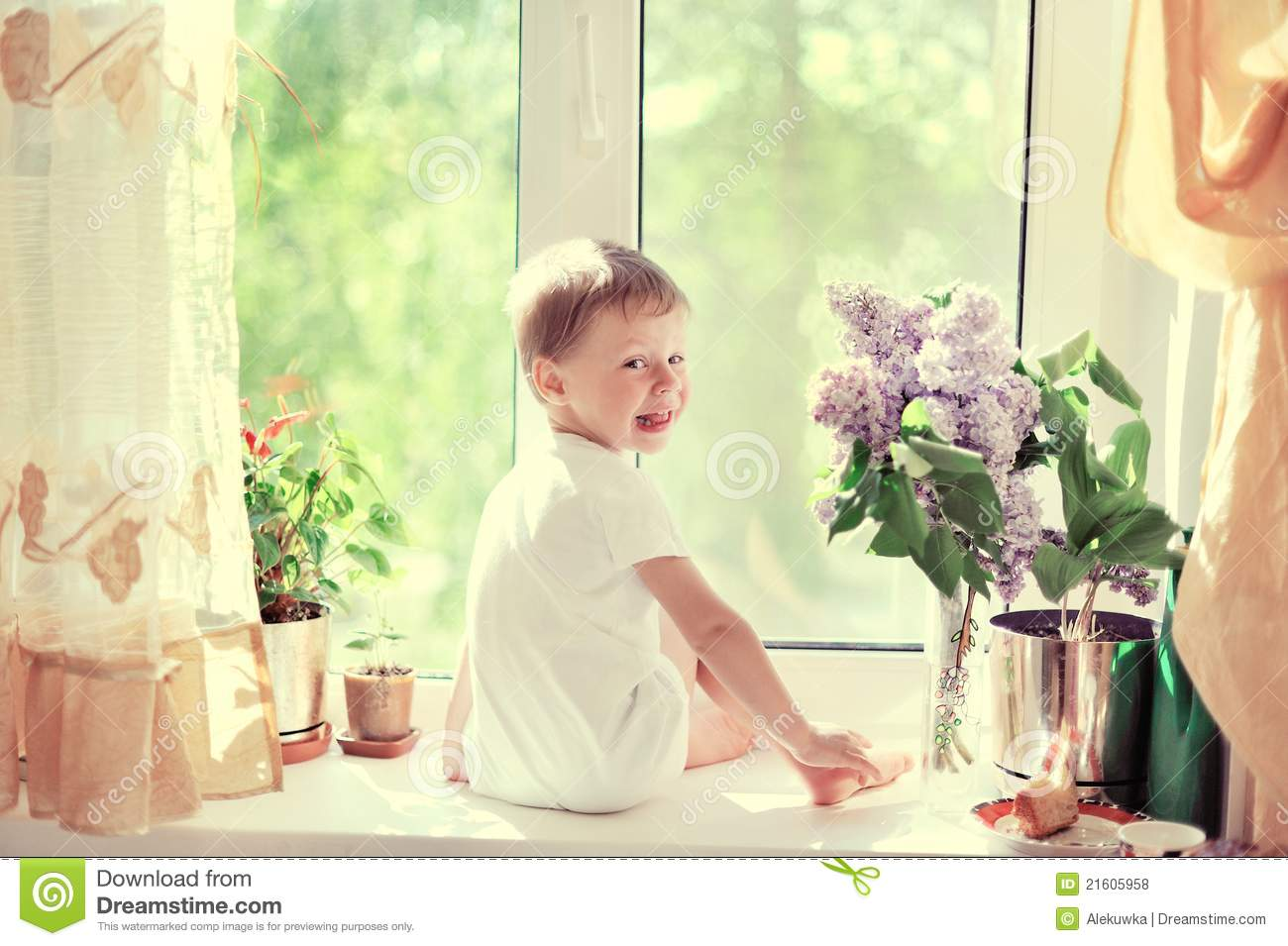 The Child At A Window Stock Photo Image Of Window