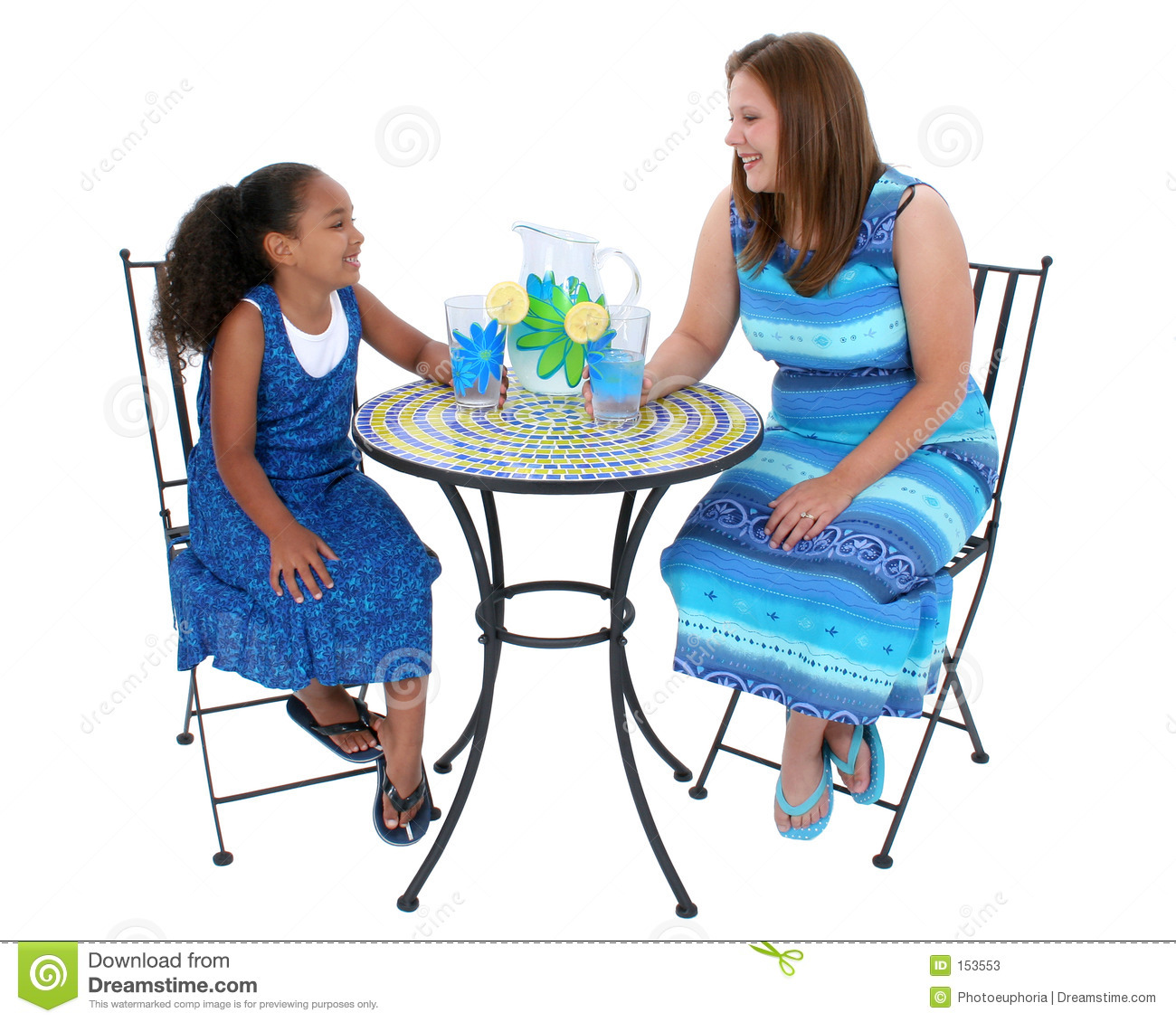 Child And Woman Sharing Lemonade At Bistro Table