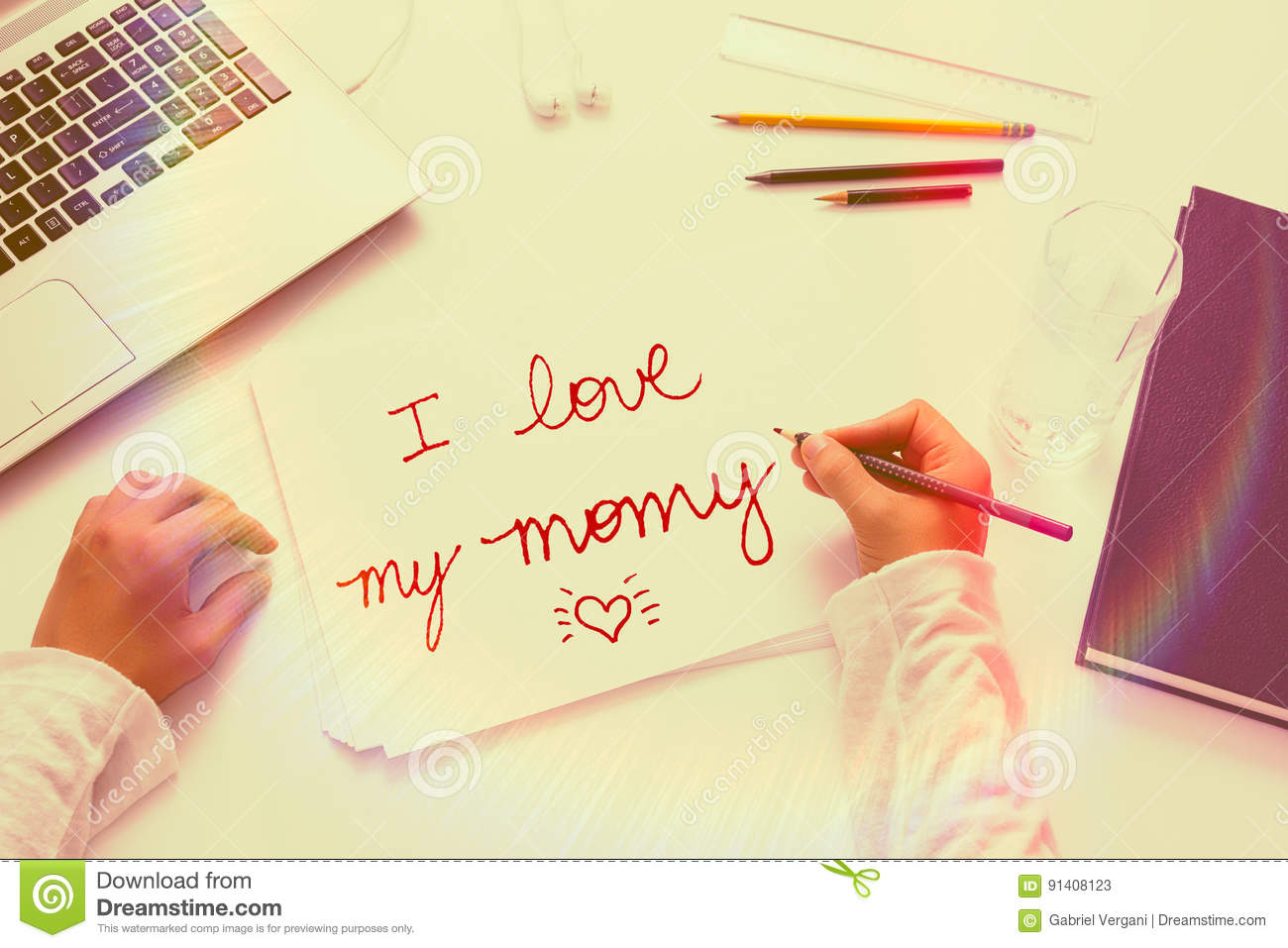 Child is writing a letter to its mother stock image image of download child is writing a letter to its mother stock image image of family spiritdancerdesigns Image collections