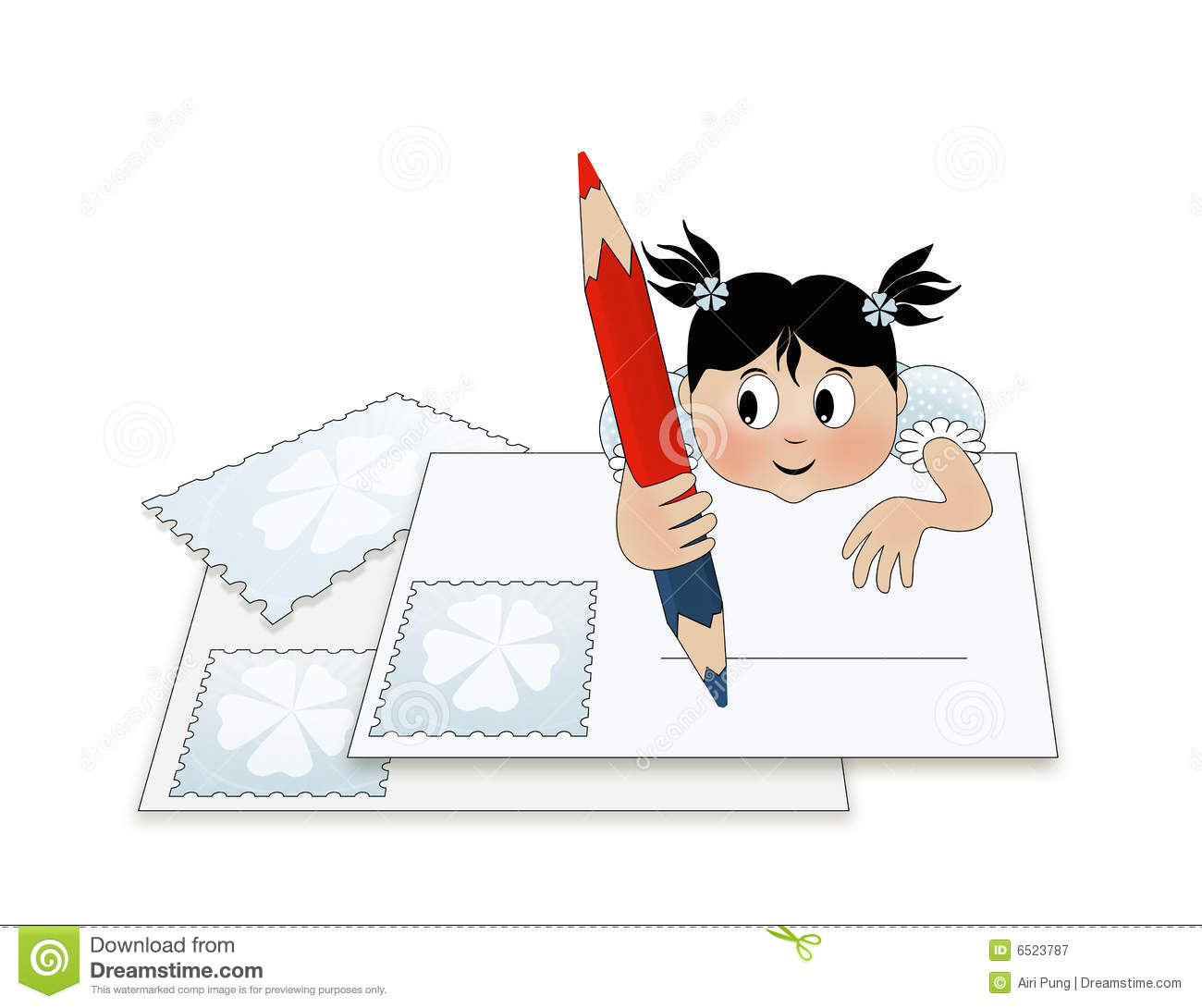 A Child Writing A Letter To Santa Stock Illustration