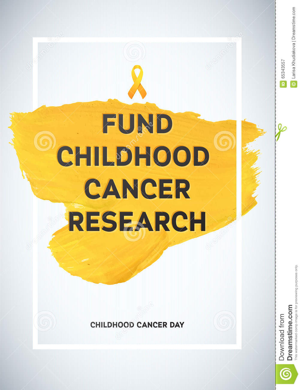 Childhood Cancer Awareness Poster Yellow Brush Strokes And Frame