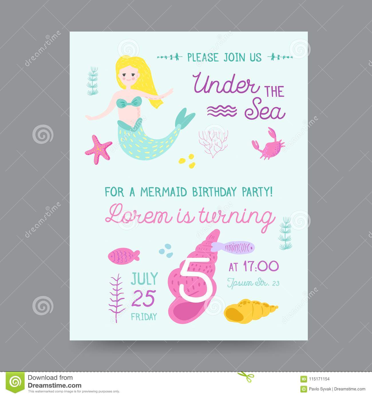 childish birthday invitation template with mermaid stock vector