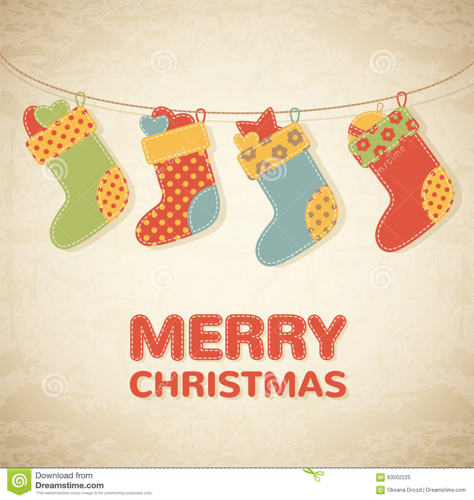 Childish Christmas illustration with colorful stockings