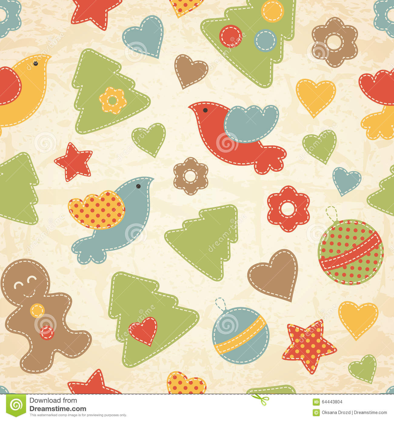 Childish Christmas seamless pattern with Christmas trees, birds, gingerbread men