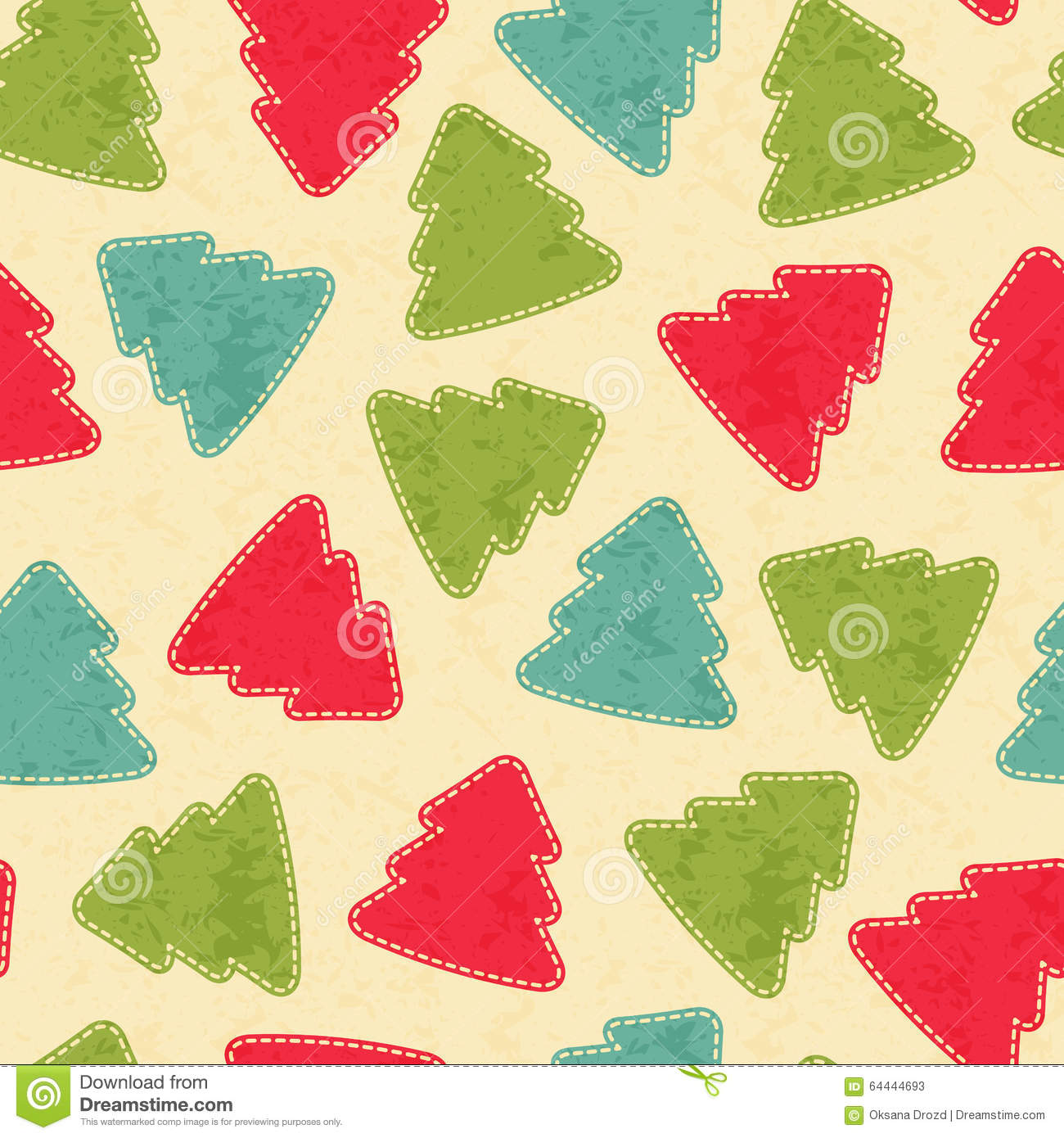 Childish Christmas seamless pattern with Christmas trees