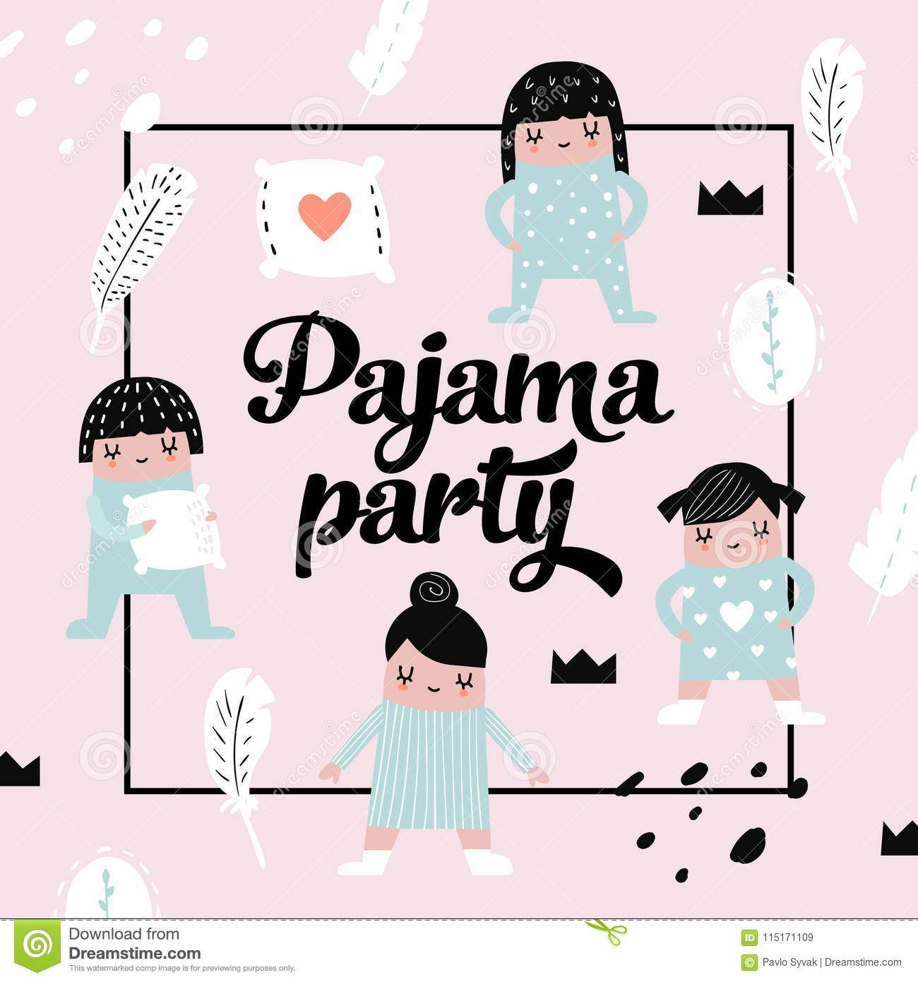 Childish Design with Cute Girls in Pajamas