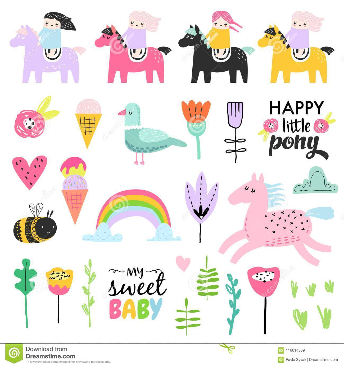 Childish Doodle with Cute Girls, Ponies and Birds. Girlish Hand Drawn Elements Set for Birthday, Decoration, Pattern