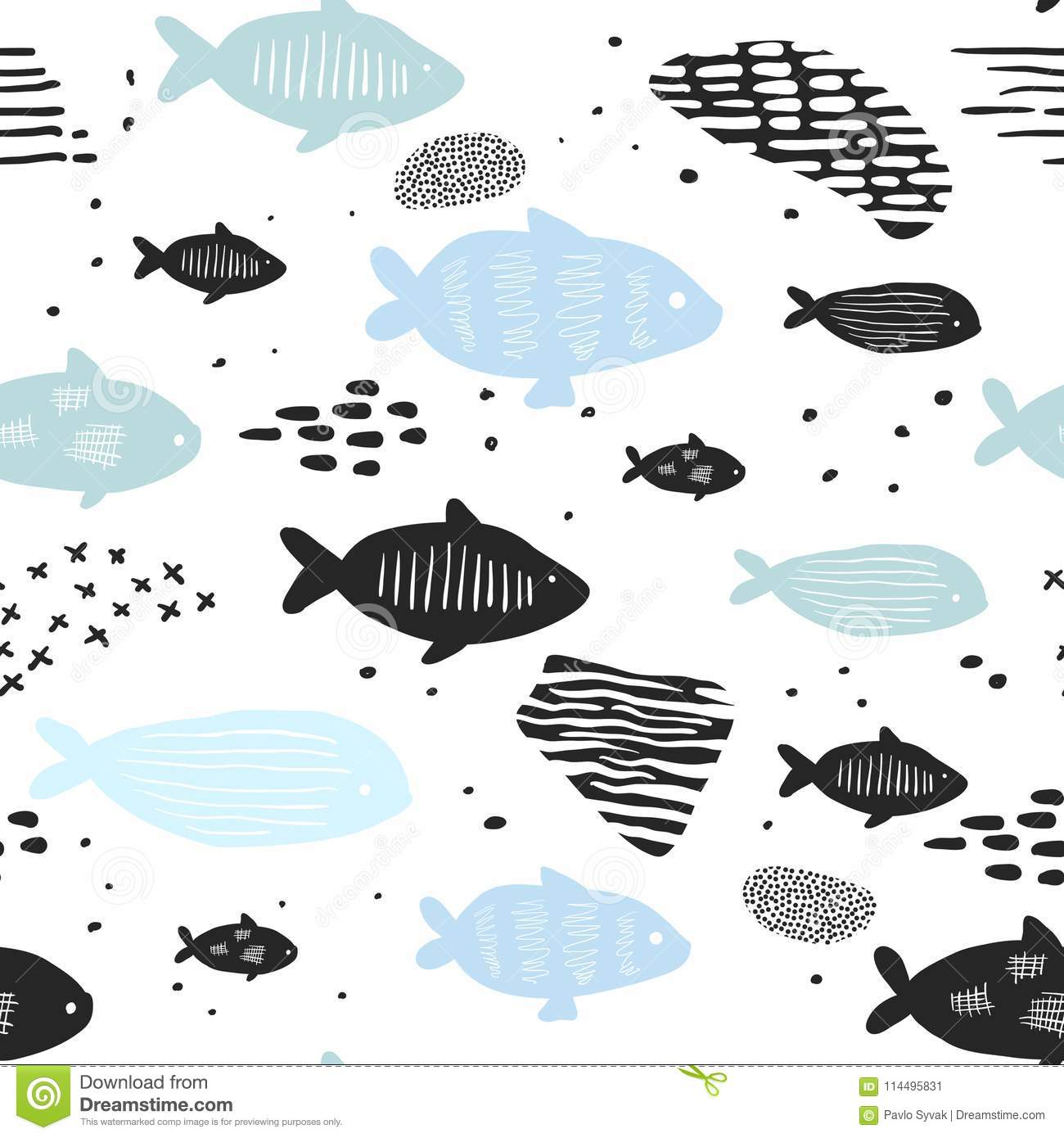 childish nautical seamless patterns with cute fish underwaterchildish nautical seamless patterns with cute fish underwater creatures background for fabric, wallpaper wrapping
