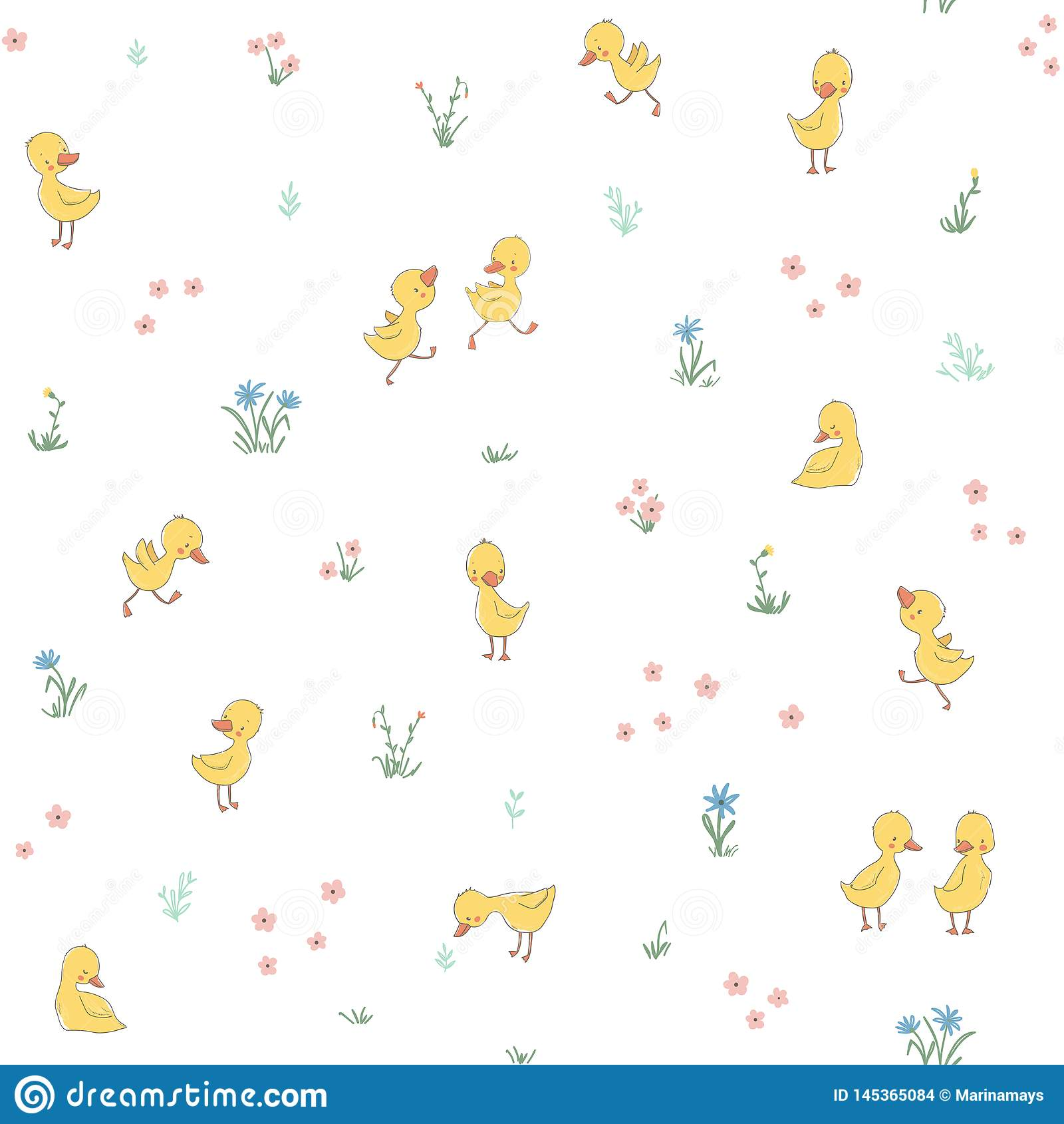 Childish seamless pattern with cute ducklings
