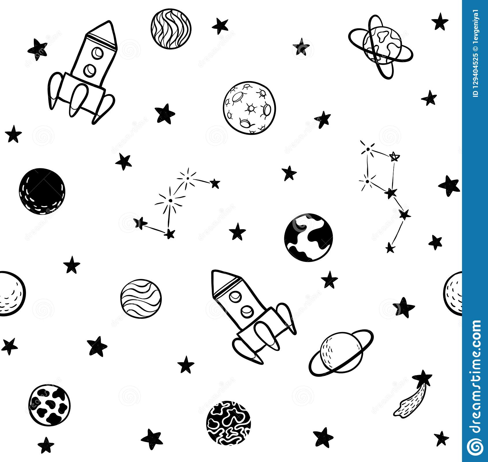 Childish seamless pattern. hand drawn space elements space, rocket, star, planet, space probe. Trendy kids vector illustration for