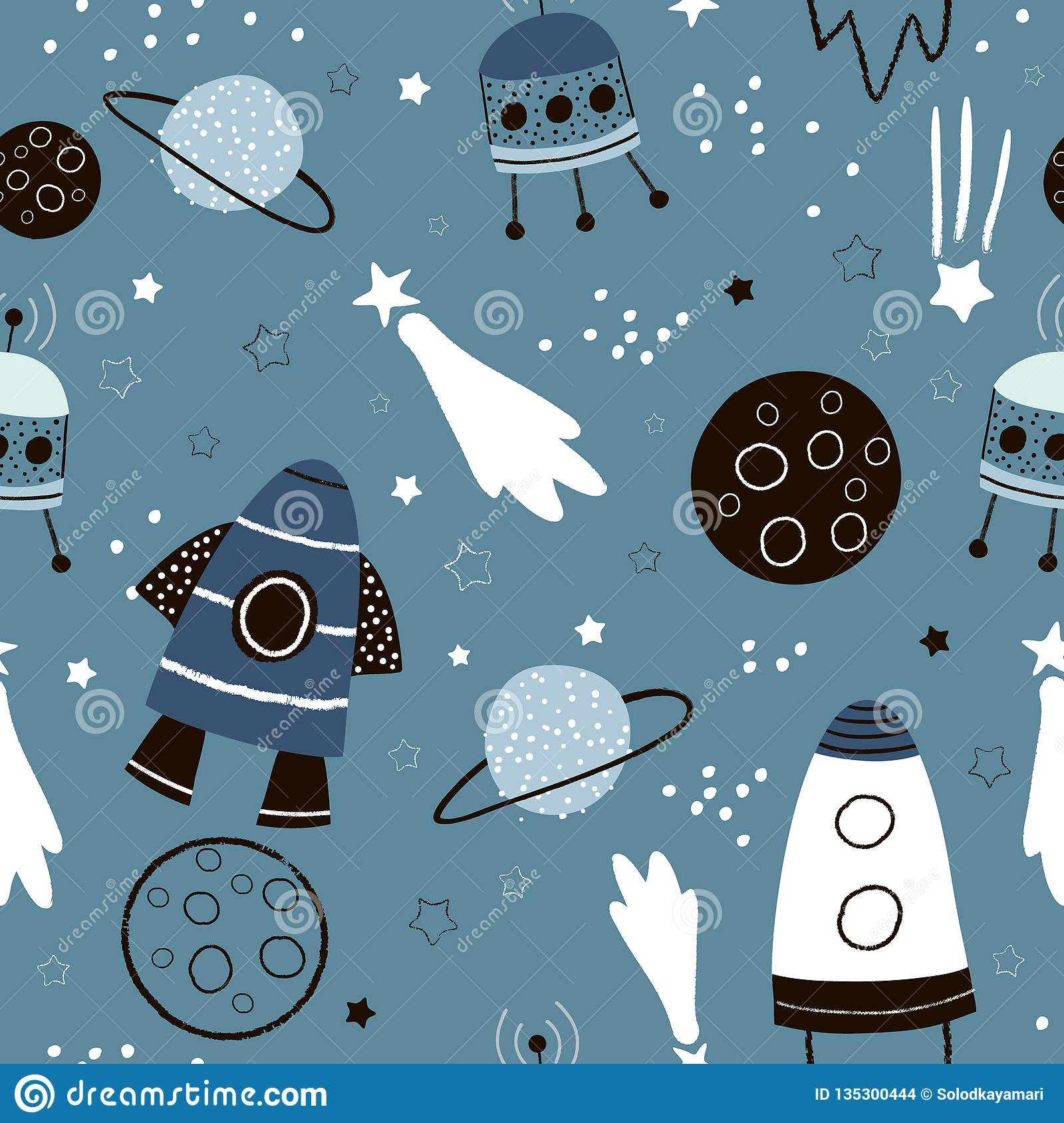 Childish seamless pattern with hand drawn space elements space, rocket, star, planet, space probe. Trendy kids vector background