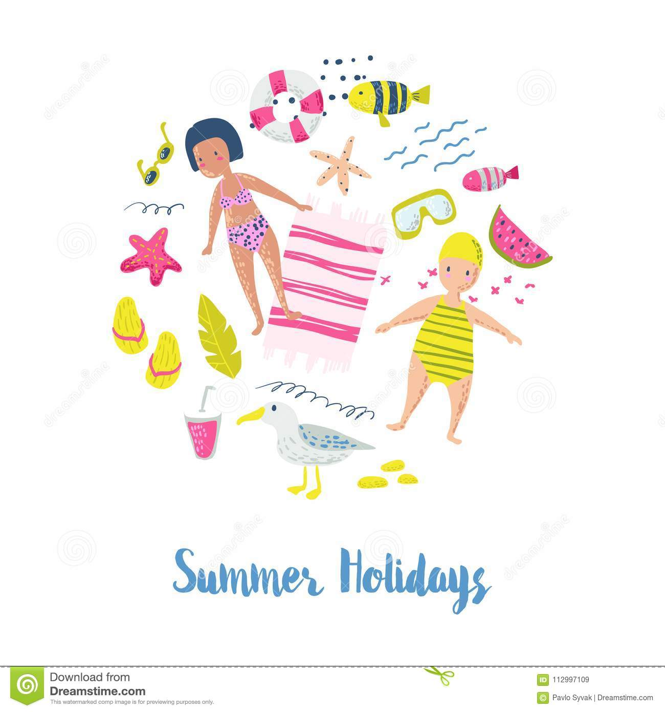 Childish summer beach vacation card with kids fish and birds cute childish summer beach vacation card with kids fish and birds cute background with sea creatures for decor greetings concept ocean m4hsunfo