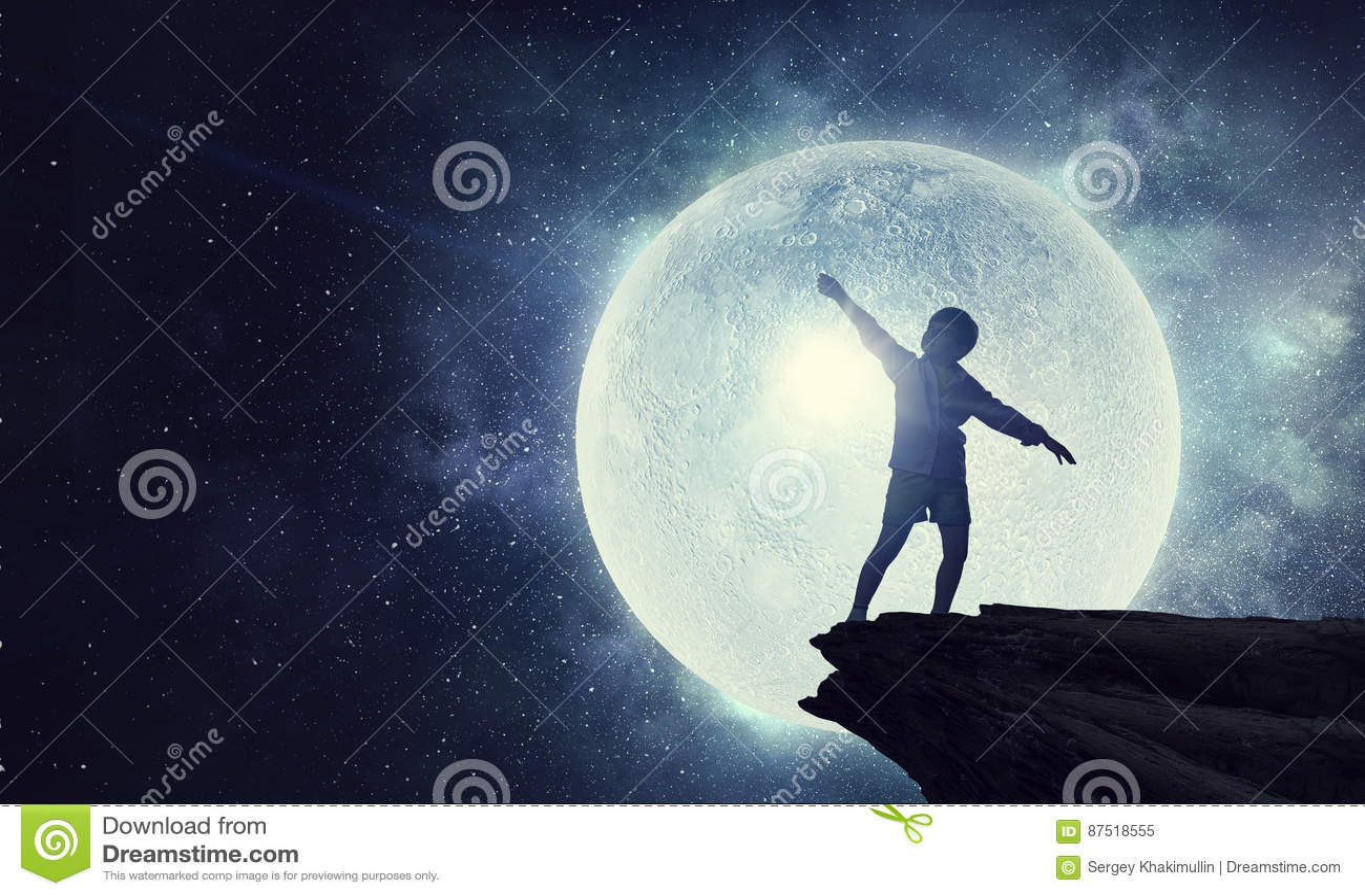 Kids at night with moon royalty free stock photography image - Royalty Free Stock Photo Boy Childish Kid Moon Night