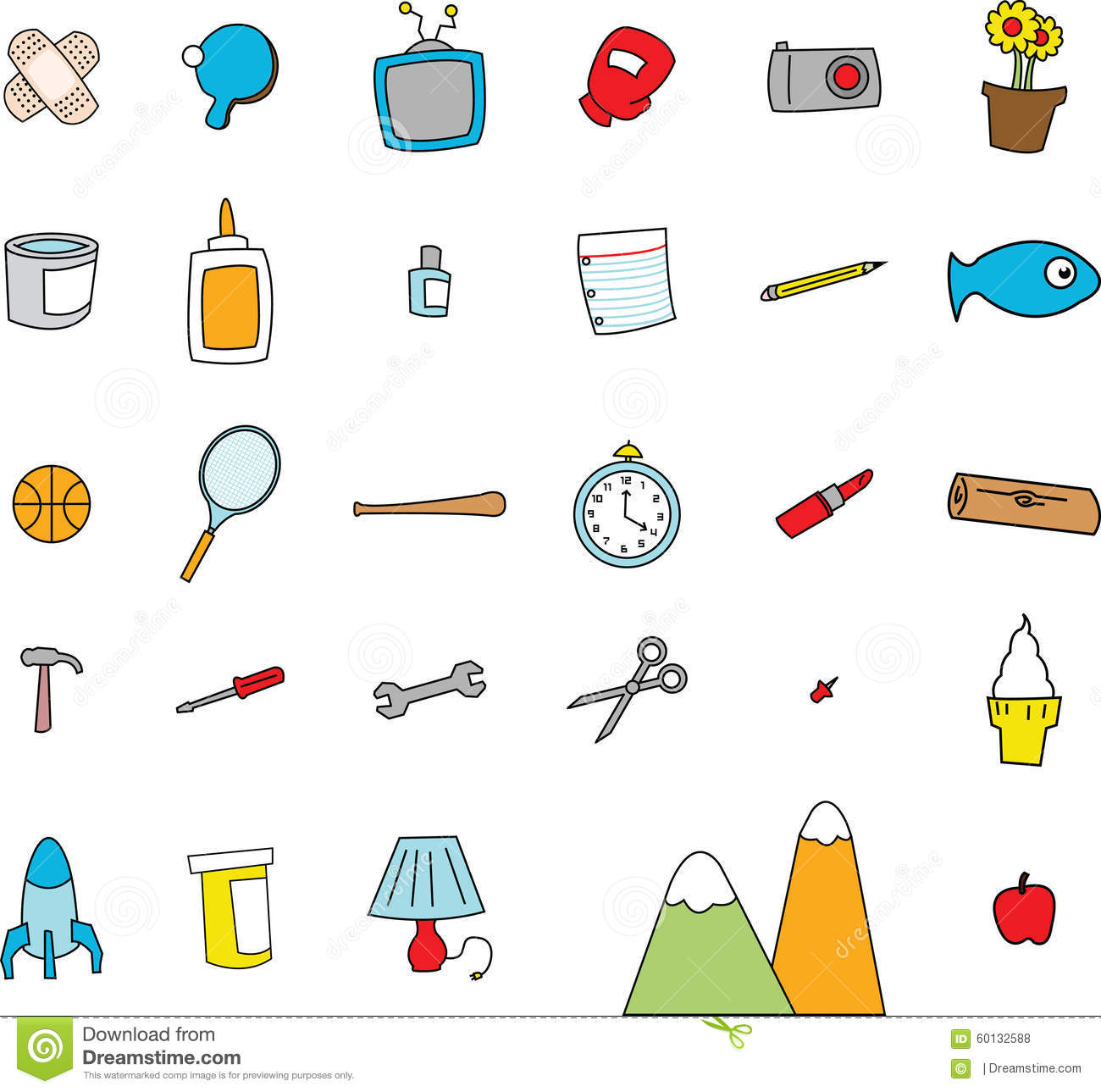childlike doodles of everyday objects stock vector illustration of boxing  glue 60132588 basketball vector clipart baseball vector art
