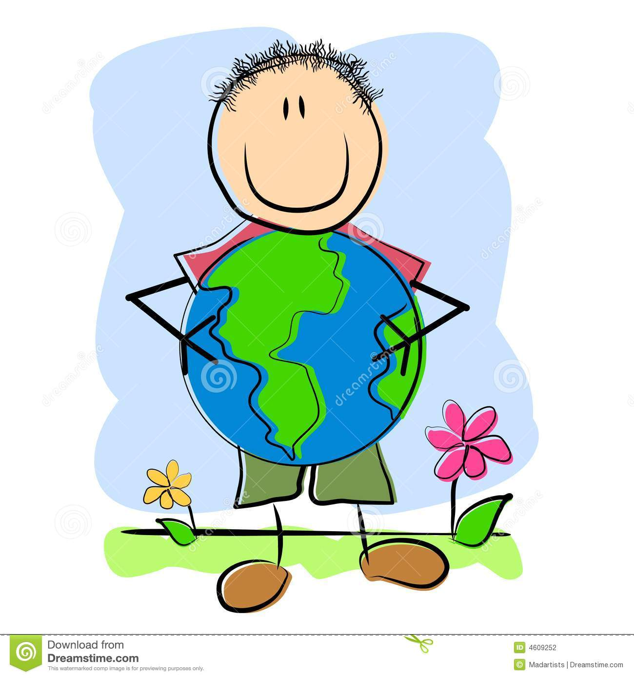 Childlike Drawing Child And Earth Stock Illustration ...