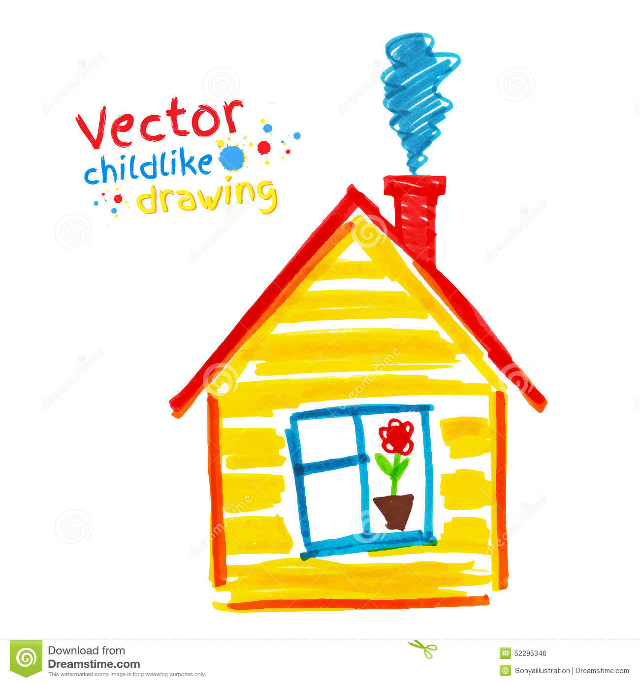 Childlike Drawing Of House Stock Vector Image 52295346