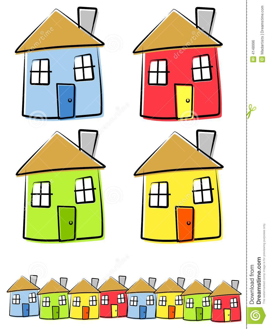 Childlike drawings of houses stock vector illustration for Draw your house